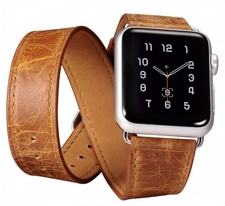 Ремешок Icarer для Apple iWatch 38mm Classic Genuine Leather ser. Светло-коричневый, фото 2
