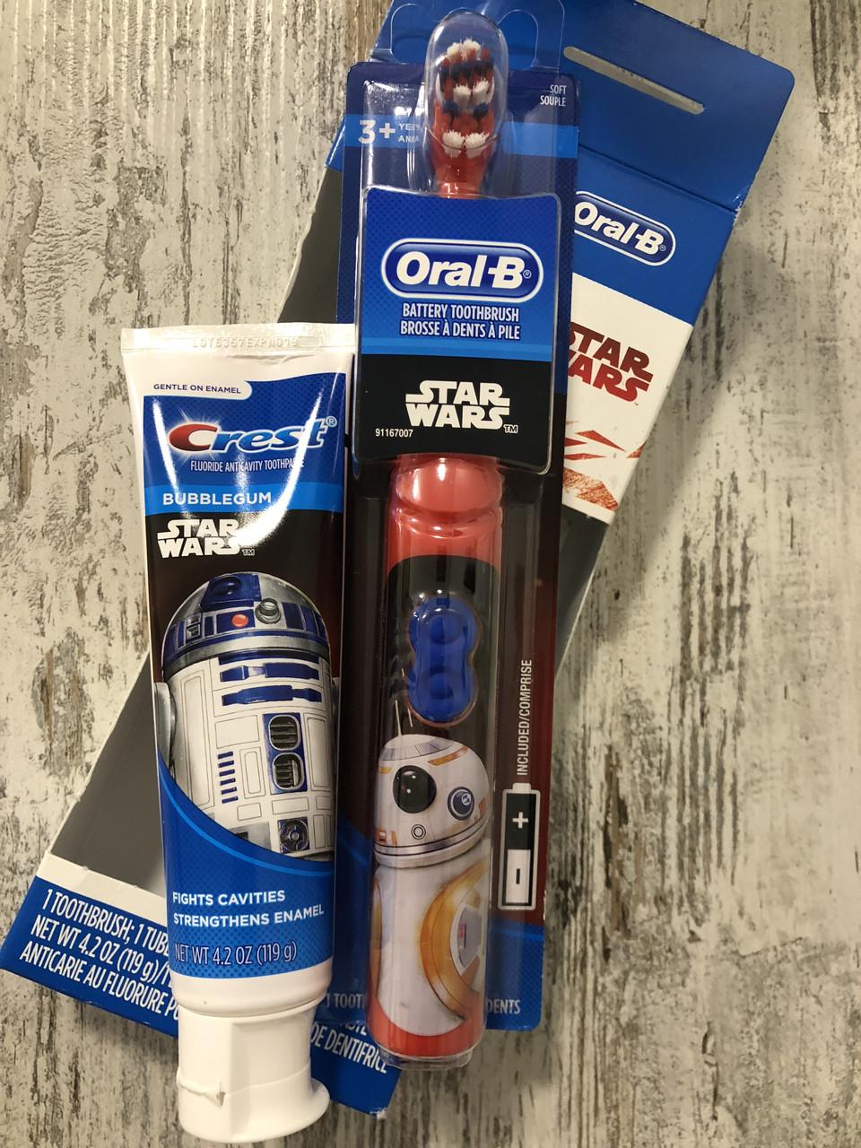 """Набор детская электрическая зубная щётка Oral-B и зубная паста Сrest """"Звездные войны"""""""