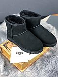 Женские угги UGG Classic Mini II черные с натуральной замшей, фото 2