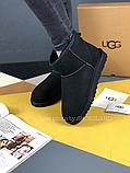Женские угги UGG Classic Mini II черные с натуральной замшей, фото 5