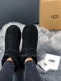 Женские угги UGG Classic Mini II черные с натуральной замшей, фото 7