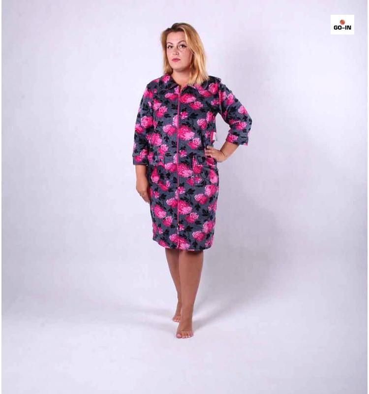 Жіночий халат велюровий на блискавці 48-58р.