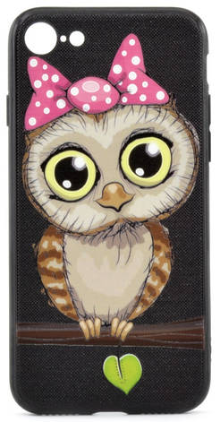 "Чехол накладка YCT для iPhone 7/8 (4.7 "") TPU + PC с тиснением Девочка сова Черный, фото 2"