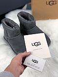 Женские угги UGG Classic Mini II серые с натуральной замшей, фото 5