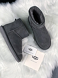 Женские угги UGG Classic Mini II серые с натуральной замшей, фото 9