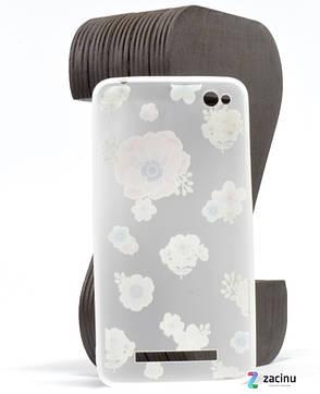 Чехол накладка для Xiaomi Redmi 4a TPU Soft touch ser. Рисунок Цветы Матовый / прозрачный, фото 2