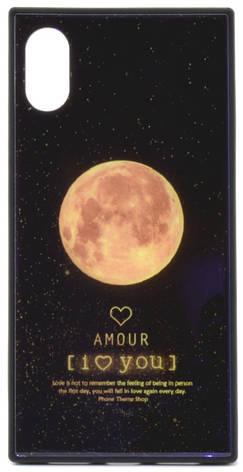 """Чехол накладка YCT для iPhone X (5.8 """") TPU + Glass прямоугольный Месяц Синий, фото 2"""