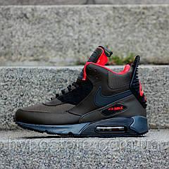 """Мужские зимние кроссовки, чоловічі зимові кросівки Nike Air Max 90 Sneakerboot """"Green"""", ТОП-Реплика"""