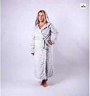 Жіночий довгий махровий халат на запах р. 42-50