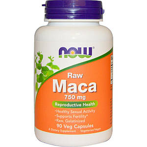 NOW Raw Maca 750 mg 90 veg caps, НАУ Мака 750 мг 90 капсул