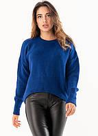 Теплый женский свитер синего цвета. Модель 19201.
