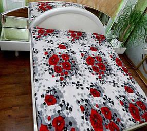 Махровый теплый плед-покрывало БОЛЬШОЙ размер 200х220 / цвет маки красные