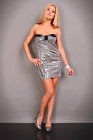 Клубное Черное платье с серебристыми пайетками S2312-2
