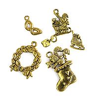 Кулоны Новогодние Микс, Металл, Цвет: Античное Золото, Размер: Микс, (УТ100013846)