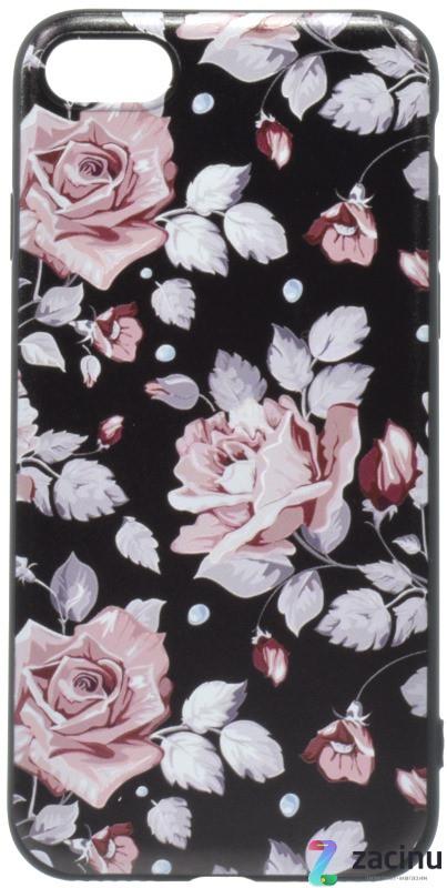 Чохол-накладка OMEVE для iPhone 7/ 8 Pictures ser. Рожеві рози Чорний