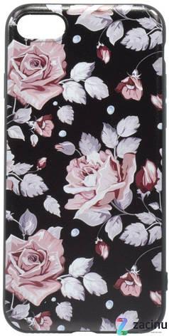 Чохол-накладка OMEVE для iPhone 7/ 8 Pictures ser. Рожеві рози Чорний, фото 2