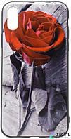 "Чохол-накладка OMEVE для iPhone X (5.8"") Pictures ser. Червона роза Сірий"
