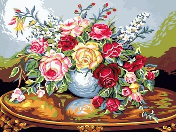 Раскраски для взрослых 30×40 см. Ваза с розами