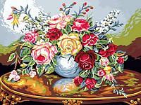 Раскраски для взрослых 30×40 см. Ваза с розами, фото 1