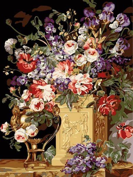 Раскраски для взрослых 30×40 см. Корзина и ваза с цветами