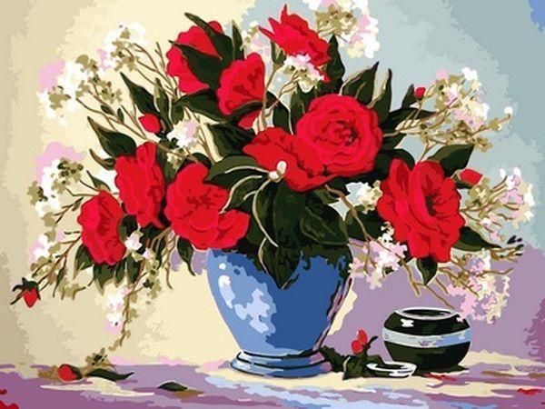 Раскраски для взрослых 30×40 см. Красные розы