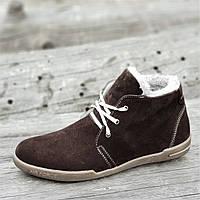 Мужские зимние ботинки замшевые коричневые (код 9872), фото 1
