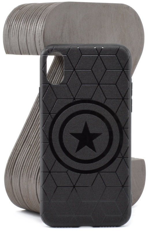 "Чехол накладка YCT для iPhone X (5.8 "") TPU Капитан Америка Черный"