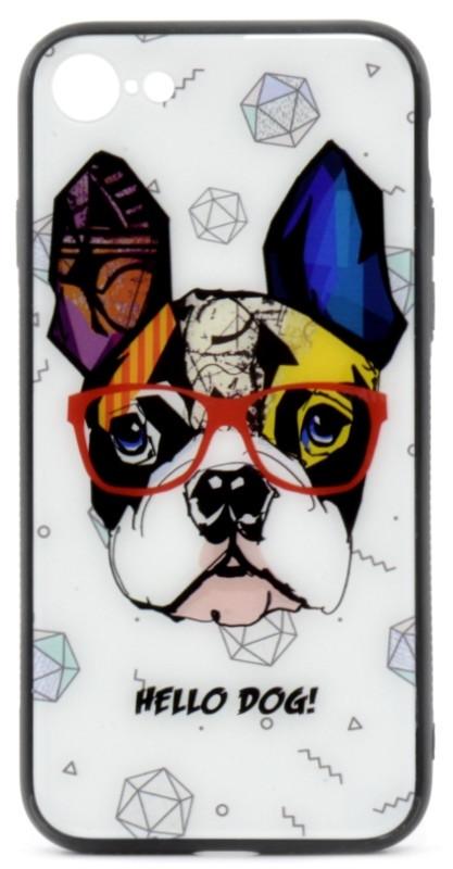 "Чехол накладка YCT для iPhone 7/8 (4.7 "") TPU + Glass Стильная собака (HELLO DOG!)"