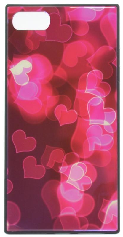 """Чехол накладка YCT для iPhone 7/8 (4.7 """") TPU + Glass прямоугольный Сердца розовые"""