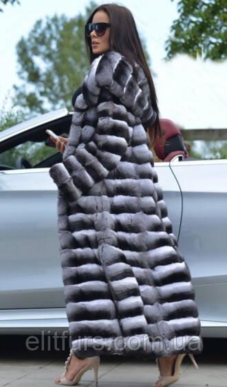 Длинная  шуба из меха шиншиллы с капюшоном