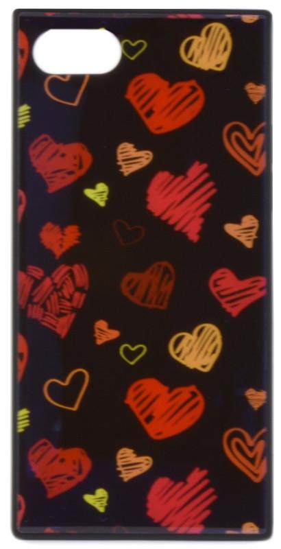 """Чехол накладка YCT для iPhone 7/8 (4.7 """") TPU + Glass прямоугольный Сердца Синий"""
