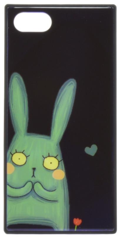 """Чехол накладка YCT для iPhone 7/8 Plus (5.5 """") TPU + Glass прямоугольный Заяц Синий"""