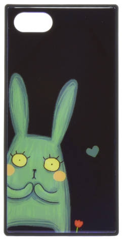 "Чехол накладка YCT для iPhone 7/8 Plus (5.5 "") TPU + Glass прямоугольный Заяц Синий, фото 2"