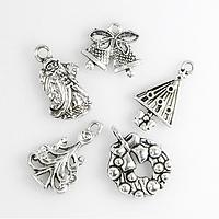 Кулоны Новогодние Микс, Металл, Цвет: Античное Серебро, Размер: Микс, (УТ100013840)