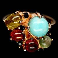Ларимар и разноцветный турмалин, серебро 925, кольцо, 954КЛ, фото 1