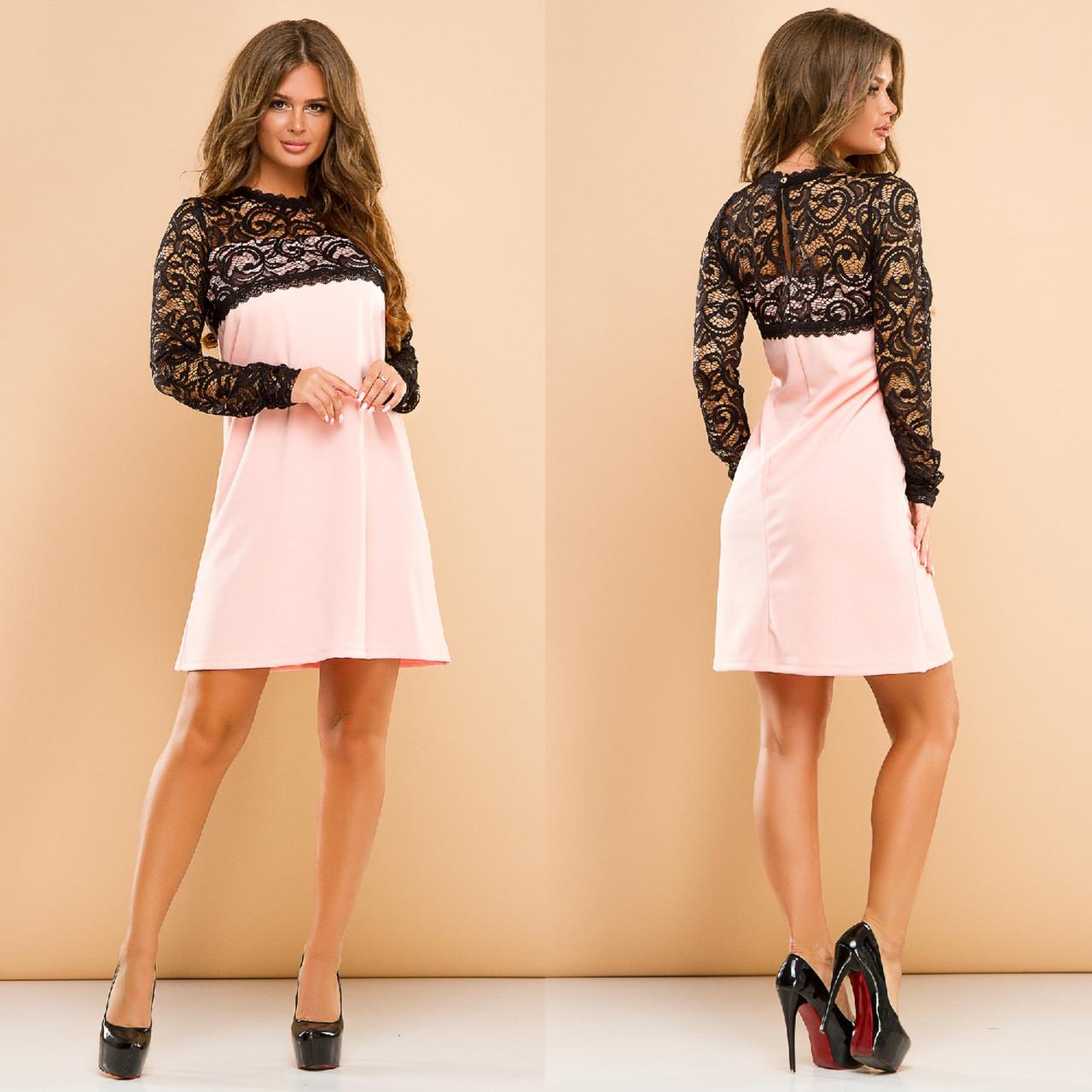 Платье женское с гипюром в расцветках 27392  Интернет-магазин модной  женской одежды оптом и в розницу . Самые низкие цены в Украине. платья  женские от