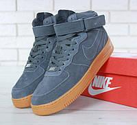 "fa6717d8 Зимние Кроссовки Nike Air Force 1 High ""Black Gum"" с Мехом (Реплика ..."