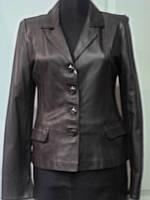 Пиджак из натуральной кожи коричневый классика длина-55см 44р ОГ-88 ОБ-92