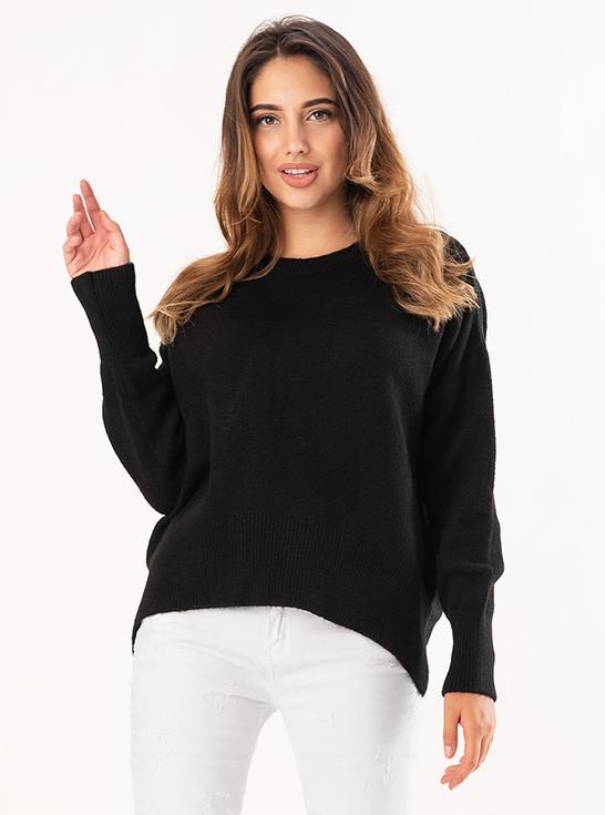 Теплый женский свитер черного цвета. Модель 19215.