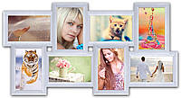 Коллаж рамка из дерева на 8 фотографий, белая., фото 1