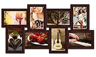 Деревянная рамка коллаж на 8 фотографий, коричневая.