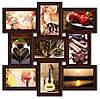 Фоторамка деревянная на 9 фото, коричневая.