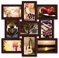 Фоторамка коллаж на 9 фото, коричневая., фото 1