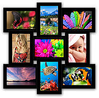 Рамка для фотографий на 9 фото, черная., фото 1