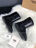 Жіночі уггі UGG Classic Short II чорні з натуральною шкірою, фото 7