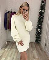 Теплое зимнее вязаное платье-туника