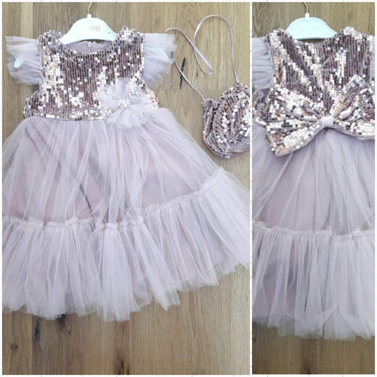 Детское платье с паетками 3-6  с сумочкой фатин