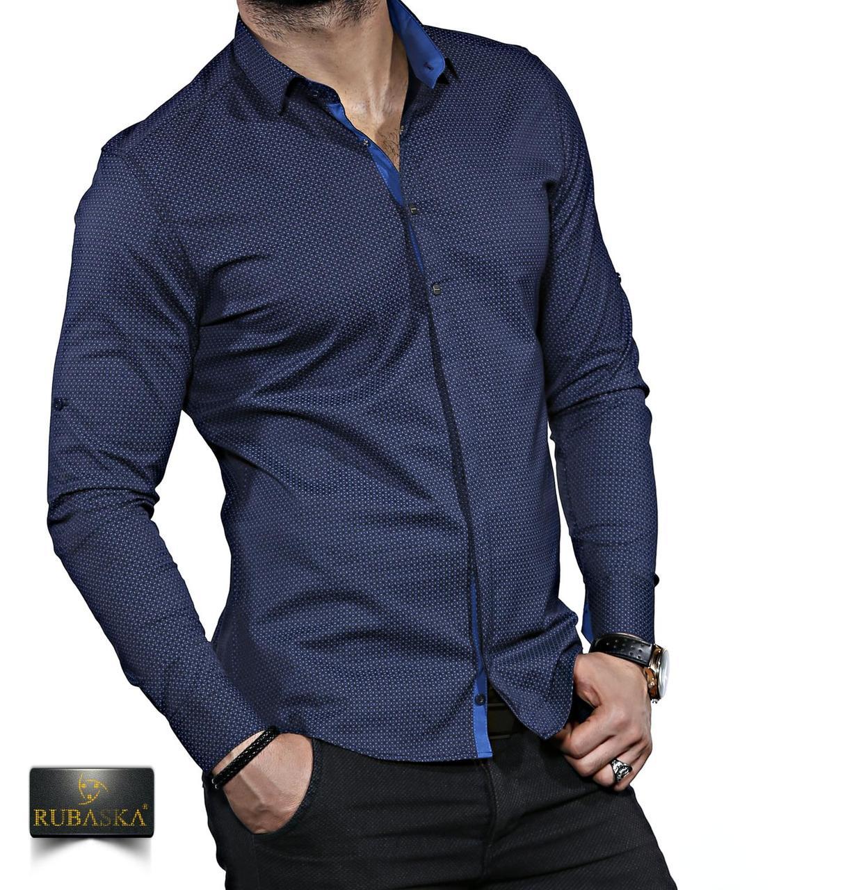 1999f8024268617 Темно-синяя мужская рубашка с длинным рукавом. - Интернет-магазин
