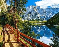 Картини по номерах 40×50 см. Озеро Брайес Италия, фото 1