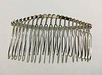 Гребінець металевий сріблястий, довжина 7,5 см. висота 3,4 см., фото 1